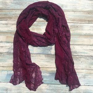 Purple scarf with lace